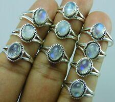 925 sliver plated rainbow moonstone gemstone ring lot 210 pic