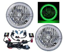 "76-15 Jeep Wrangler 7"" SMD Green LED Halo Headlights 6K 6000K HID Light Bulb Kit"