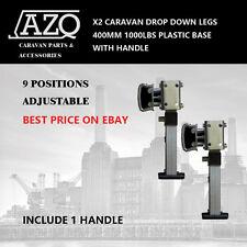X2 PLASTIC BASE DROP DOWN LEGS FOR CARAVAN TRAILER HANDLE 400MM 1000LBS