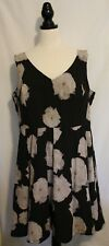 CITY CHIC ~ Black Sleeveless 50's Style Dress w Mauve Grey Roses Full Skirt XL
