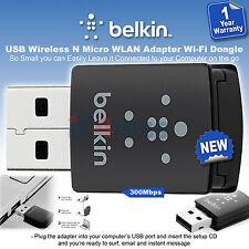 Belkin USB WIRELESS N WLAN MICRO ADATTATORE CHIAVETTA WI-FI f7d2102az 300Mbps HI SPEED