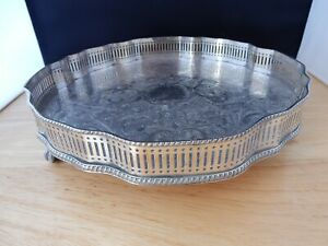 Vintage Galleried Drinks Tray with Clawed Feet - Silver Plate on Copper
