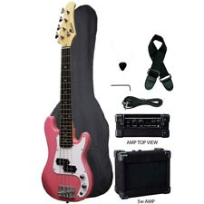 """Raptor 38"""" Kid's 3/4 Size Junior Kid's 4 String Electric P Bass Pack - PINK"""