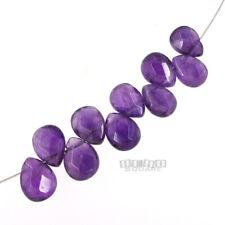 10 Purple Amethyst Faceted Pear Flat Teardrop Briolette Beads ap.8 x 10mm #15223