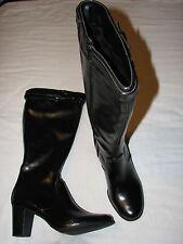 8.5 M Karen Scott Black Tall Boots Faux leather Riding Buckle Ladies High Heels
