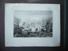 GRAVURE 1880  BATAILLE DE LA HOGUE