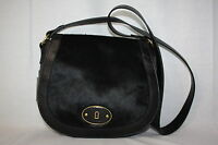 Fossil black genuine leather & fur handbag cross body shoulder purse new satchel