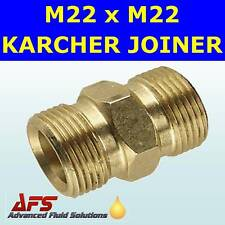 M22 x M22 BRASS KARCHER PRESSURE JET WASH HOSE ADAPTOR
