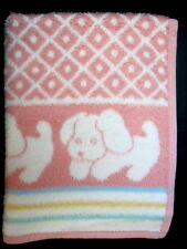 """Pink Puppy Dog Green Yellow Blue Striped """"fur"""" Shag Lovey Security Baby Blanket"""