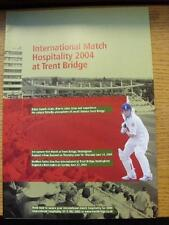 2004 Cricket: Nottinghamshire CCC, International Match Hospitality At Tent Bridg