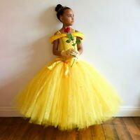 Girl's Princess Belle Disney Inspired Fancy Dress Costume, Hand-M Age 3 - 12 Yrs