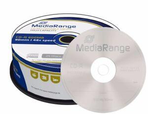 25 MediaRange Branded Blank CD R Discs 48x 90 mins 800MB 90 minutes MR221