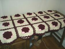 """Hand Crochet Afghan Blanket Throw Roses in Squares 48"""" x 60"""" Red Pink Ivory"""