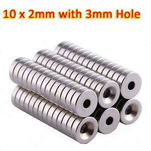 N35 10mm dia x 2mm Ring Round Disc Strong Magnets Rare Earth Neodymium 3mm Hole