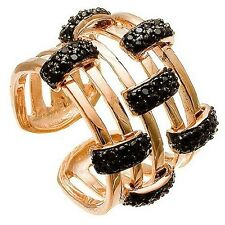 VERMEIL ROSE GP & BLACK CZ STACK RING HALLMARK 925-ONE SZ FITS ALL-X-PIC'S 15MM