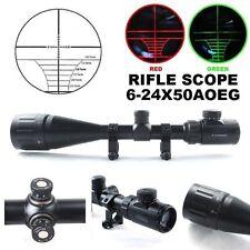 6-24x50 AOE Green Red Mil-Dot Illuminated Optics Hunting Rifle Scope W/Rings