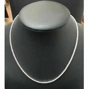 Certified...! 3.20 CT Round Diamond Tennis Necklace In Hallmarked White Gold