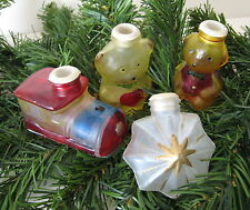4 VINTAGE CHRISTMAS TREE LIGHT COVERS Bears Train & Star
