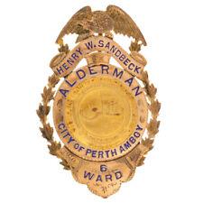 1910-1914 Alderman Ville Conseil Badge - 10k Doré Perth Amboy New Jersey