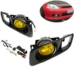 For 99-00 Honda Civic EK EM 2/3/4 Door JDM Bumper Fog Lights Lamps w/ Switch Kit