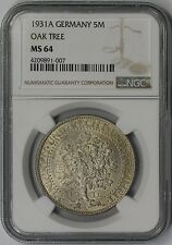1931A Germany 5M NGC MS 64 (Oak Tree) Silver 5 Reichmark