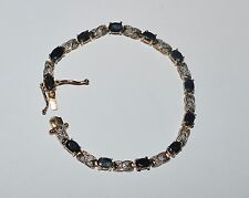 Fas Sterling Silver Sapphires And Diamonds Tennis Bracelet