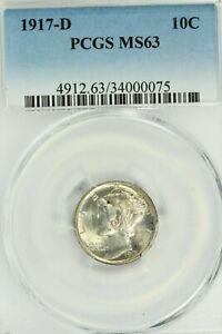 1917-D Mercury Dime : PCGS MS63