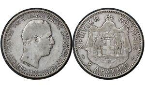 2 Drachmai 1901 Cretan State (Crete) Greece 🇬🇷 Silver Coin / King Georgios # 8