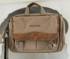 Travelwell Briefcase Khaki Brown Canvas Computer Shoulder Bag Messenger New
