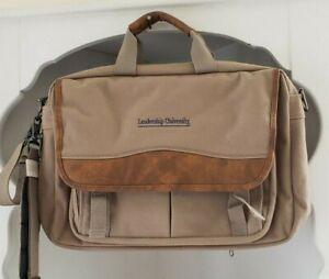 Messenger Briefcase Khaki Brown Canvas Computer Zip Shoulder Bag Travelwell New