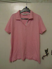 Pink Cotton Polo Neck T-Shirt / Top by EWM in Size Medium / Size 14 - 16