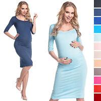 Happy Mama Women's Pregnancy Maternity Stretch Jersey Dress Ruched Waist. 939p