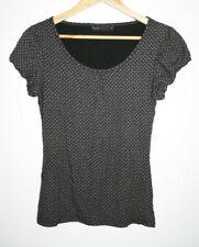 Next Woman Fashion Women's Geometric Black Office Short Sleeve Blouse Top Size10