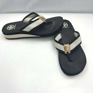 TORY BURCH Black White Gold Medallion Logo Thong Flip Flop Sandals Womens Sz 9M