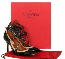 NEW VALENTINO GARAVANI LOVE LATCH BLACK PATENT STRAPS HEELS PUMPS SHOES 38/US 8