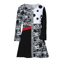 Parsley & Sage Women's Bold Polka Dot Tunic - Black and White Contrast Top
