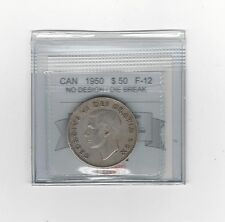 **1950 No Des Die Break**,Coin Mart Graded Canadian Silver 50 Cent, **F-12**