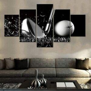 Golfing Golf Club hitting Ball 5 Piece canvas Wall Art Print Poster Home Decor