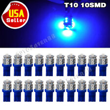 20X Ultra Blue T10 10-SMD LED Car Map Dome Interior Light Bulb W5W 192 194 2825