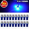 20X Ultra Blue T10 10-SMD LED Car Map Dome Interior Light Bulb W5W 192 194 2825