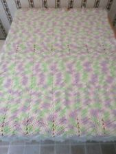 "48""x37"" Handmade Variegated Pastels Lap Throw Afghan/Baby Blanket, Soft"
