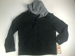 Levis Jacket Mens Heavy utility military Detachable Hoodie Snap sherpa lining