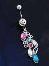 Colorful Crystal Dangle Ball Barbell Belly Button Navel Ring Body Piercing Gift
