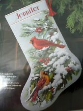 New ListingNew Dimensions Early Snow Cardinals Christmas Stocking Kit 8738 Cross Stitch
