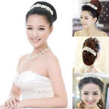 Bridal Wedding Crystal Flower Tiara Crown Pearl Rhinestone Hair Band Headband