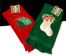 2 Christmas Holiday Decorative Fingertip Towels Red W/ Holly & Green W/ Stocking