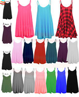 Ladies Womens Dress Cami Long Swing Dress Floaty Flared Strappy Skater Top S-3XL