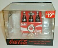 Vintage 1999 Coca-Cola 6 Pack Coke Soda Bottles Mini Clock New & Factory Sealed