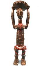 Art Africain - Statue Akié Atié -Colliers de Perles & Clous de Tapissier - 54Cms