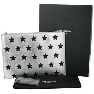 Auth SAINT LAURENT Star patch clutch bag Rider California Buffalo leather Silver
